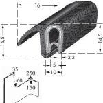 Kantafwerkprofiel - plaatdikte: 1-4 mm-BxH: 14.5x16 mm zwart