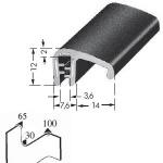 Kantafwerkprofiel - plaatdikte: 1-3 mm-BxH: 12x17.8 mm zwart