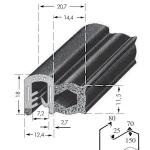 Kantafwerkprofiel - plaatdikte: 3-5 mm-BxH: 18x20.7 mm zwart