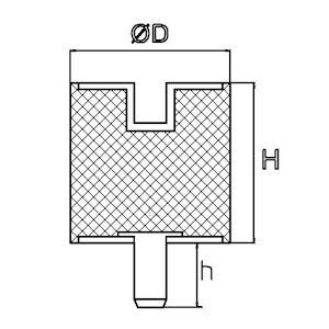 Trillingsdemper - Type B 15x15 M4x10