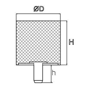 Trillingsdemper - Type D 15x10 M4x10