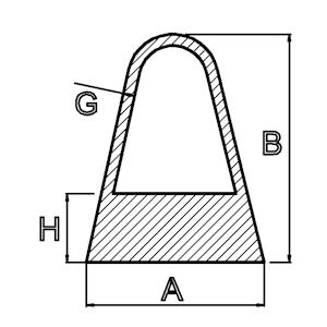 driehoekprofiel afgerond hol